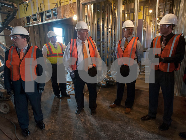 Soules College of Business Dean Dr. James Lumpkin, center, gives a tour of the newly named business building which is still under construction on Monday Feb. 19, 2018 at the University of Texas at Tyler.  (Sarah A. Miller/Tyler Morning Telegraph)