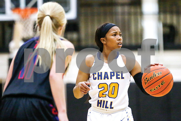 Chapel Hill Mikaela Alfred (20) looks around the court during a regional quarterfinals girls basketball game at Wagstaff Gymnasium in Tyler, Texas, on Monday, Feb. 20, 2017. (Chelsea Purgahn/Tyler Morning Telegraph)