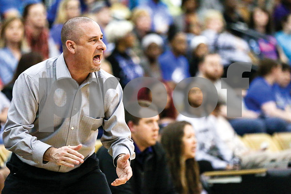 Chapel Hill head coach Jeremy Durham cheers on his team during a regional quarterfinals girls basketball game at Wagstaff Gymnasium in Tyler, Texas, on Monday, Feb. 20, 2017. The Bullard Lady Panthers beat the Chapel Hill Lady Bulldogs 54-36. (Chelsea Purgahn/Tyler Morning Telegraph)