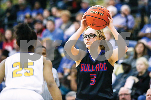 Bullard senior Lauren Zachary (3) looks to pass the ball during a regional quarterfinals girls basketball game at Wagstaff Gymnasium in Tyler, Texas, on Monday, Feb. 20, 2017. The Bullard Lady Panthers beat the Chapel Hill Lady Bulldogs 54-36. (Chelsea Purgahn/Tyler Morning Telegraph)