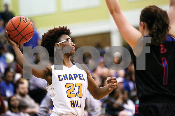 Chapel Hill senior Kyia Moore (23) prepares to pass the ball during a regional quarterfinals girls basketball game at Wagstaff Gymnasium in Tyler, Texas, on Monday, Feb. 20, 2017. The Bullard Lady Panthers beat the Chapel Hill Lady Bulldogs 54-36. (Chelsea Purgahn/Tyler Morning Telegraph)