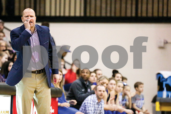 Bullard head coach Barry Gill shouts during a regional quarterfinals girls basketball game at Wagstaff Gymnasium in Tyler, Texas, on Monday, Feb. 20, 2017. The Bullard Lady Panthers beat the Chapel Hill Lady Bulldogs 54-36. (Chelsea Purgahn/Tyler Morning Telegraph)