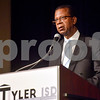 Dr. Rodney Atkins speaks during John Tyler High School's Celebrate Black History Month at Caldwell Auditorium in Tyler, Texas, on Tuesday, Feb. 20, 2018. Students performed songs in choirs and in a jazz band as well as monologues. (Chelsea Purgahn/Tyler Morning Telegraph)