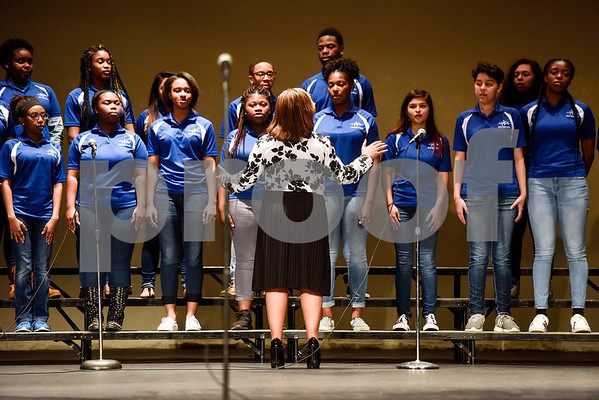 John Tyler's choir perform during John Tyler High School's Celebrate Black History Month at Caldwell Auditorium in Tyler, Texas, on Tuesday, Feb. 20, 2018. Students performed songs in choirs and in a jazz band as well as monologues. (Chelsea Purgahn/Tyler Morning Telegraph)