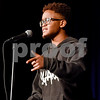 Xavier Williams performs a monologue during John Tyler High School's Celebrate Black History Month at Caldwell Auditorium in Tyler, Texas, on Tuesday, Feb. 20, 2018. Students performed songs in choirs and in a jazz band as well as monologues. (Chelsea Purgahn/Tyler Morning Telegraph)