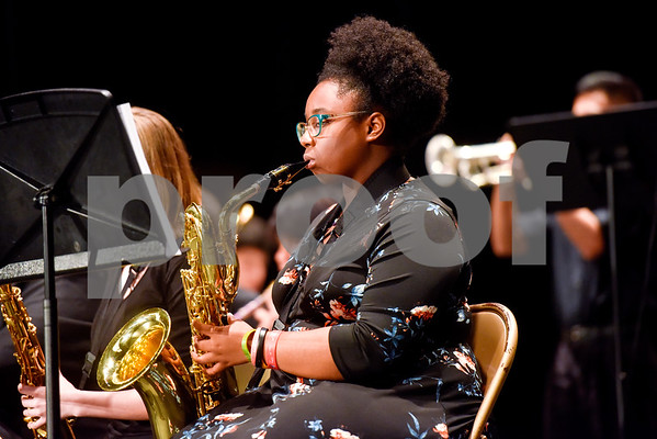 John Tyler Jazz Band members perform during John Tyler High School's Celebrate Black History Month at Caldwell Auditorium in Tyler, Texas, on Tuesday, Feb. 20, 2018. Students performed songs in choirs and in a jazz band as well as monologues. (Chelsea Purgahn/Tyler Morning Telegraph)