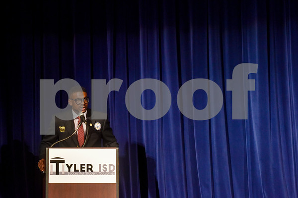 Cedrick L. Granberry Sr., Tyler-Smith County NAACP No. 6232 president, speaks during John Tyler High School's Celebrate Black History Month program at Caldwell Auditorium in Tyler, Texas, on Tuesday, Feb. 20, 2018. Students performed songs in choirs and in a jazz band as well as monologues. (Chelsea Purgahn/Tyler Morning Telegraph)