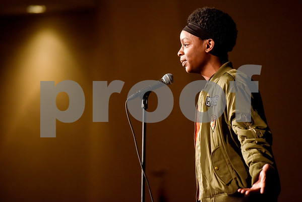 Jamon Washington performs a monologue during John Tyler High School's Celebrate Black History Month at Caldwell Auditorium in Tyler, Texas, on Tuesday, Feb. 20, 2018. Students performed songs in choirs and in a jazz band as well as monologues. (Chelsea Purgahn/Tyler Morning Telegraph)