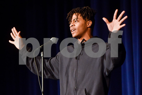 Cameron Monroe performs a monologue during John Tyler High School's Celebrate Black History Month at Caldwell Auditorium in Tyler, Texas, on Tuesday, Feb. 20, 2018. Students performed songs in choirs and in a jazz band as well as monologues. (Chelsea Purgahn/Tyler Morning Telegraph)