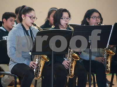 The Dogan band performs during the annual Black History Month program held at Dogan Middle School in Tyler on Friday Feb. 23, 2018. The event included former school leaders and alumni as speakers who encouraged the students to look to their own community when celebrating Black History Month.  (Sarah A. Miller/Tyler Morning Telegraph)