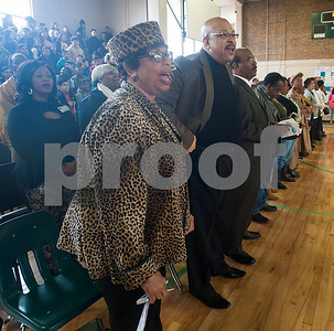 "Former Dogan leaders and alumni sing ""Lift Every Voice and Sing"" during the annual Black History Month program held at Dogan Middle School in Tyler on Friday Feb. 23, 2018. The event included former school leaders and alumni as speakers who encouraged the students to look to their own community when celebrating Black History Month.  (Sarah A. Miller/Tyler Morning Telegraph)"