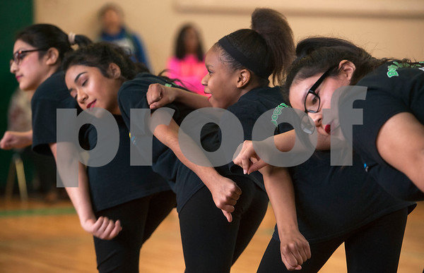 The Dogan Dance Team performs during the annual Black History Month program held at Dogan Middle School in Tyler on Friday Feb. 23, 2018. The event included former school leaders and alumni as speakers who encouraged the students to look to their own community when celebrating Black History Month.  (Sarah A. Miller/Tyler Morning Telegraph)