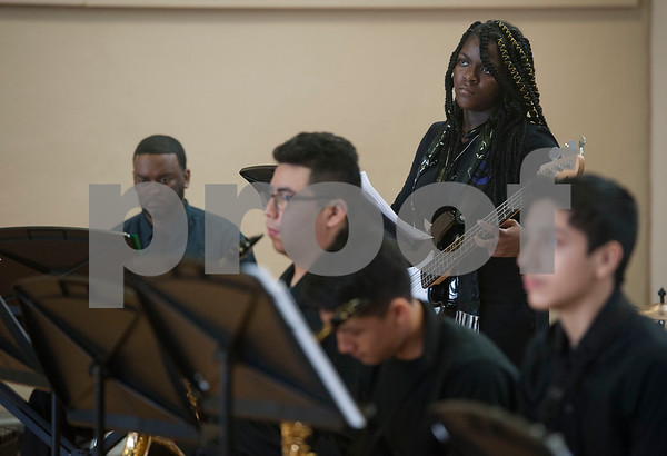 The John Tyler High School jazz band performs during the annual Black History Month program held at Dogan Middle School in Tyler on Friday Feb. 23, 2018. The event included former school leaders and alumni as speakers who encouraged the students to look to their own community when celebrating Black History Month.  (Sarah A. Miller/Tyler Morning Telegraph)