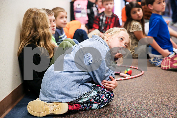 Katie Petri listens to instructions for physical education activities at the Bridgemark Center in Tyler, Texas, on Monday, Feb. 27, 2017. Bridgemark Center specializes in education for children with learning disabilities such as dyslexia, dysgraphia and dyscalculia. (Chelsea Purgahn/Tyler Morning Telegraph)