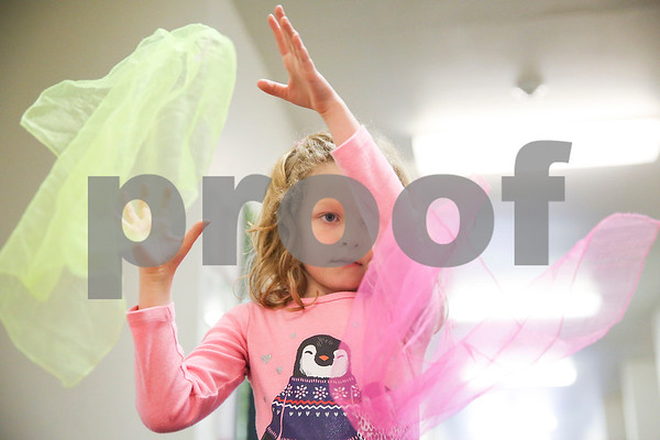 Grace Kimball, 6, juggles cloths during a physical education class at the Bridgemark Center in Tyler, Texas, on Monday, Feb. 27, 2017. Bridgemark Center specializes in education for children with learning disabilities such as dyslexia, dysgraphia and dyscalculia. (Chelsea Purgahn/Tyler Morning Telegraph)