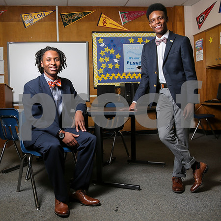 John Tyler High School seniors Ta'Corian Tilley and Triston Ferguson pose for a portrait at John Tyler High School in Tyler, Texas, on Monday, Feb. 27, 2017. The two are competing at the National Speech & Debate tournament in Birmingham, Ala., in June of this year. (Chelsea Purgahn/Tyler Morning Telegraph)