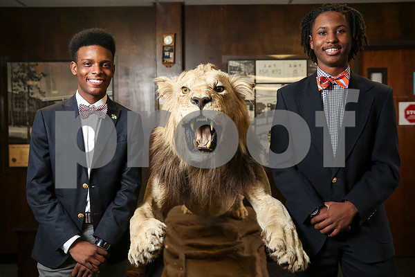 John Tyler High School seniors Triston Ferguson and Ta'Corian Tilley pose for a portrait at John Tyler High School in Tyler, Texas, on Monday, Feb. 27, 2017. The two are competing at the National Speech & Debate tournament in Birmingham, Ala., in June of this year. (Chelsea Purgahn/Tyler Morning Telegraph)