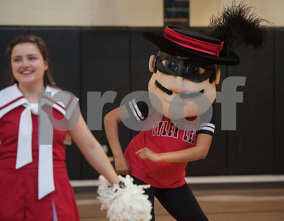Robert E. Lee cheerleaders and the mascot perform at Jones Elementary School as the Tyler ISD Foundation makes a grant patrol stop at their school Tuesday Feb. 27, 2018. The Tyler ISD Foundation Grant Patrol visited nine Tyler ISD campuses awarding ten grants totaling more than $30,000 to support classroom learning.   (Sarah A. Miller/Tyler Morning Telegraph)