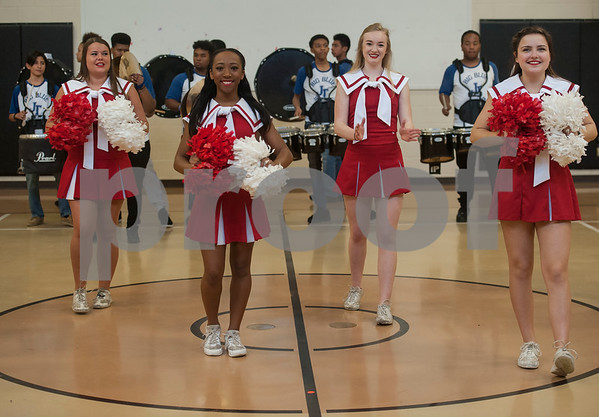 The John Tyler High School band and Robert E. Lee cheerleaders perform at Jones Elementary School as the Tyler ISD Foundation makes a grant patrol stop at their school Tuesday Feb. 27, 2018. The Tyler ISD Foundation Grant Patrol visited nine Tyler ISD campuses awarding ten grants totaling more than $30,000 to support classroom learning.   (Sarah A. Miller/Tyler Morning Telegraph)