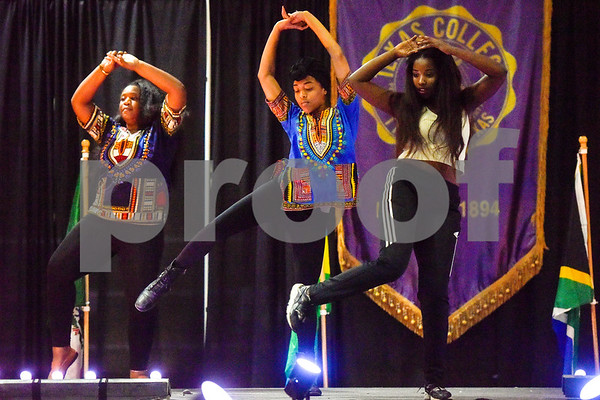 The Elite Dance Group performs during the African Fashion Show at Texas College in Tyler, Texas, on Wednesday, Feb. 28, 2018. The fashion show was held as part of Texas College's International Student Association Week. (Chelsea Purgahn/Tyler Morning Telegraph)