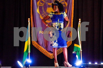 Monica Dorsey strikes a pose on the catwalk during the African Fashion Show at Texas College in Tyler, Texas, on Wednesday, Feb. 28, 2018. The fashion show was held as part of Texas College's International Student Association Week. (Chelsea Purgahn/Tyler Morning Telegraph)