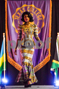 Chasey Shepard walks down the catwalk during the African Fashion Show at Texas College in Tyler, Texas, on Wednesday, Feb. 28, 2018. The fashion show was held as part of Texas College's International Student Association Week. (Chelsea Purgahn/Tyler Morning Telegraph)
