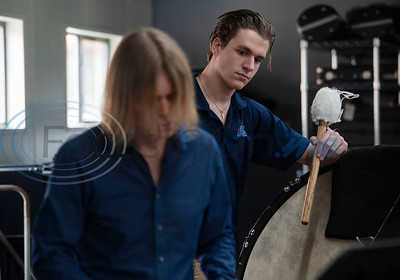 All Saints Episcopal School student Bryce Mitcham watches as professional percussionist Mark Shelton leads a percussion workshop for the drum line on Wednesday Feb. 6, 2019.  (Sarah A. Miller/Tyler Morning Telegraph)