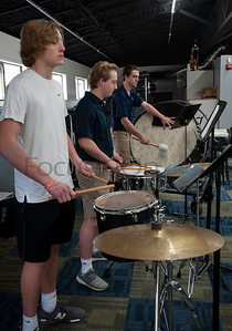 "All Saints Episcopal School students Charlie Michaels, Jack Pogue and Bryce Mitcham work on an arrangement of ""The Entertainer"" by Scott Joplin under the instruction of professional percussionist Mark Shelton for the upcoming Solo and Ensemble contest on Wednesday Feb. 6, 2019.  (Sarah A. Miller/Tyler Morning Telegraph)"