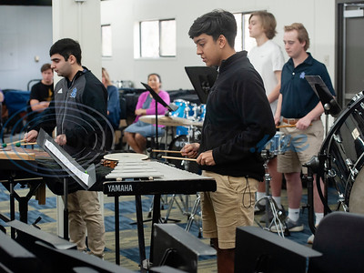 "All Saints Episcopal School student Madi Brazeal plays the bells with the drum line during a special workshop with professional percussionist Mark Shelton (not pictured) on Wednesday Feb. 6, 2019. The drummers worked on an arrangement of ""The Entertainer"" by Scott Joplin for the upcoming Solo and Ensemble contest.   (Sarah A. Miller/Tyler Morning Telegraph)"