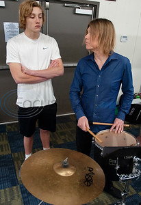 "All Saints Episcopal School student Charlie Michaels watches as professional percussionist Mark Shelton works with him on the tenor drum on Wednesday Feb. 6, 2019. Shelton held a workshop for the drum line. They worked on an arrangement of ""The Entertainer"" by Scott Joplin for the upcoming Solo and Ensemble contest.  (Sarah A. Miller/Tyler Morning Telegraph)"