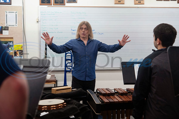 "Professional percussionist Mark Shelton instructs the All Saints Episcopal School drum line on Wednesday Feb. 6, 2019. Shelton held a workshop for the drum line. They worked on an arrangement of ""The Entertainer"" by Scott Joplin for the upcoming Solo and Ensemble contest.  (Sarah A. Miller/Tyler Morning Telegraph)"
