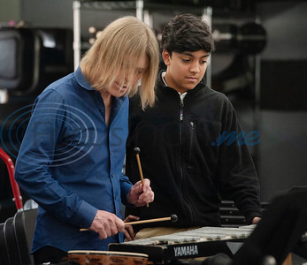 "Professional percussionist Mark Shelton works with All Saints Episcopal School student Madi Brazeal on the bells on Wednesday Feb. 6, 2019. Shelton held a workshop for the drum line. They worked on an arrangement of ""The Entertainer"" by Scott Joplin for the upcoming Solo and Ensemble contest.  (Sarah A. Miller/Tyler Morning Telegraph)"