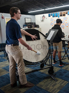 "All Saints Episcopal School student Bryce Mitcham plays the bass drum with the drum line during a special workshop with professional percussionist Mark Shelton (not pictured) on Wednesday Feb. 6, 2019. The drummers worked on an arrangement of ""The Entertainer"" by Scott Joplin for the upcoming Solo and Ensemble contest.   (Sarah A. Miller/Tyler Morning Telegraph)"