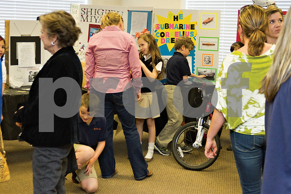 Photo by Shannon Wilson / Tyler Morning Telegraph Third grade students at The Brook Hill School in Bullard participate in the Invention Convention.  Students get to share with parents and teachers about the inventor that they researched and the invention that they created by looking for problems to solve in their own homes.