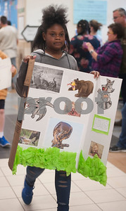 Jack Elementary School student Laila Browning wears a predator costume in the science vocabulary parade at the school in Tyler on Friday March 9, 2018.   (Sarah A. Miller/Tyler Morning Telegraph)