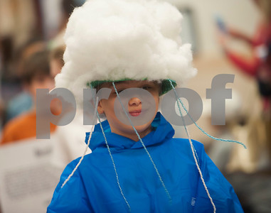 Jack Elementary School student Sharla Bowen wears a costume representing the water cycle during the science vocabulary parade at the school in Tyler on Friday March 9, 2018.   (Sarah A. Miller/Tyler Morning Telegraph)