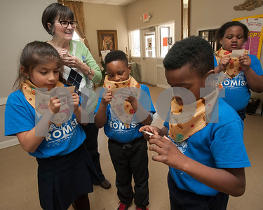 Promise Academy second graders read treasure hunt clues during an interactive event put together by the Ladies Book Study from Redeemer Presbyterian Church in Tyler at their school in Tyler on Friday March 9, 2018.   (Sarah A. Miller/Tyler Morning Telegraph)