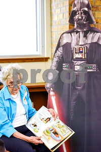 Blanche Bergmeier reads to students at Dixie Elementary School in Tyler, Texas, on March 20, 2017. Seniors from The Hamptons volunteered their time to read to the elementary schoolers to encourage reading. (Chelsea Purgahn/Tyler Morning Telegraph)