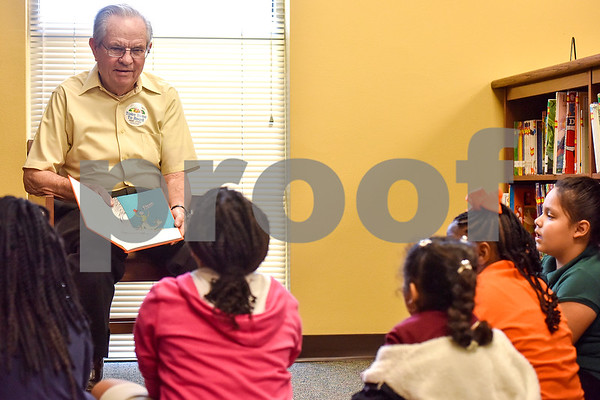 "Bobby Smith reads Dr. Seuss' ""Green Eggs and Ham"" to students at Dixie Elementary School in Tyler, Texas, on March 20, 2017. Seniors from The Hamptons volunteered their time to read to the elementary schoolers to encourage reading. (Chelsea Purgahn/Tyler Morning Telegraph)"