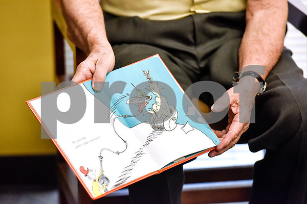 "Bobby Smith reads Dr. Seuss' ""Green Eggs and Ham"" at Dixie Elementary School in Tyler, Texas, on March 20, 2017. Seniors from The Hamptons volunteered their time to read to the elementary schoolers to encourage reading. (Chelsea Purgahn/Tyler Morning Telegraph)"