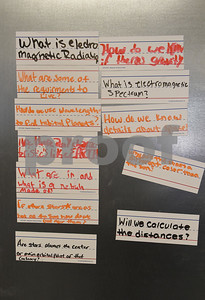 Questions are taped to the wall in an eighth grade science class at the University of Texas at Tyler Innovation Academy Tuesday March 7, 2017. The Innovation Academy is a public university Charter School that prepares its students to enroll in a STEM (science, technology, engineering, and math programs) major at in college.  (Sarah A. Miller/Tyler Morning Telegraph)