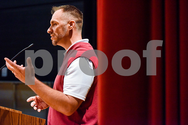 Whitehouse football coach Adam Cook speaks during signing day at Whitehouse High School in Whitehouse, Texas, on Tuesday, March 21, 2017. (Chelsea Purgahn/Tyler Morning Telegraph)