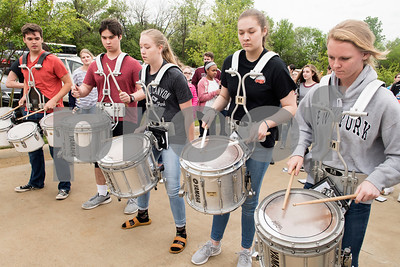 The Lindale High School marching band performs during the grand opening of TJC North Campus at The Cannery development in Lindale on Tuesday March 29, 2017. The 8,500 square-foot campus will host general education courses, nursing programs and the school's new veterinary technician program.  (Sarah A. Miller/Tyler Morning Telegraph)