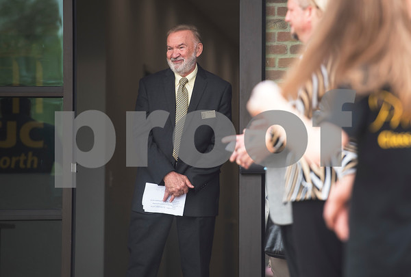 Tyler Junior College president Dr. Mike Metke waits to speak during the grand opening of TJC North Campus at The Cannery development in Lindale on Tuesday March 29, 2017. The 8,500 square-foot campus will host general education courses, nursing programs and the school's new veterinary technician program.  (Sarah A. Miller/Tyler Morning Telegraph)
