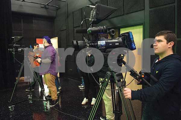 Robert E. Lee High School junior Chris McCabe runs a camera during an audio/video production class at the Tyler ISD Career and Technology Center Tuesday Feb. 23, 2016.   (Sarah A. Miller/Tyler Morning Telegraph)
