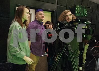 Robert E. Lee High School seniors Joe Gipson,Cole Phillips, William Smith and Julian Boucher run a camera  during an audio/video production class at the Tyler ISD Career and Technology Center Tuesday Feb. 23, 2016.   (Sarah A. Miller/Tyler Morning Telegraph)