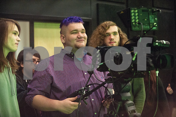 Robert E. Lee High School seniors Joe Gipson, William Smith, Cole Phillips and Julian Boucher run a camera  during an audio/video production class at the Tyler ISD Career and Technology Center Tuesday Feb. 23, 2016.   (Sarah A. Miller/Tyler Morning Telegraph)