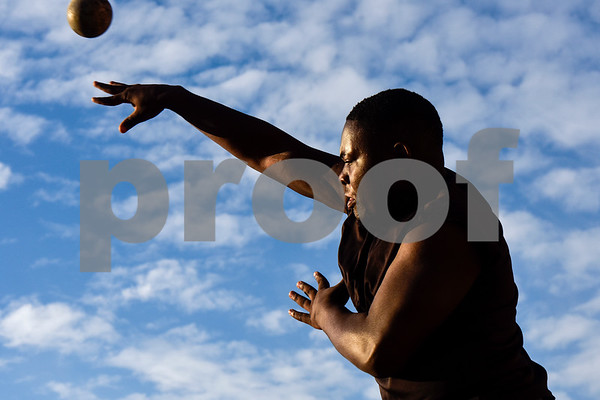 Shot put athlete BJ Brager competes during a track and field meet at Bullard High School in Bullard, Texas, on Thursday, March 8, 2018. (Chelsea Purgahn/Tyler Morning Telegraph)