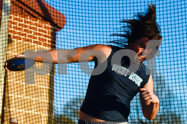 A discus athlete competes during a track and field meet at Bullard High School in Bullard, Texas, on Thursday, March 8, 2018. (Chelsea Purgahn/Tyler Morning Telegraph)