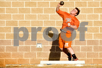 A shot put athlete competes during a track and field meet at Bullard High School in Bullard, Texas, on Thursday, March 8, 2018. (Chelsea Purgahn/Tyler Morning Telegraph)